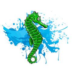 fish sea horse green image vector image