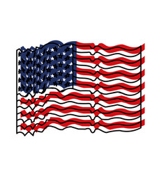 flag united states of america with several wave vector image