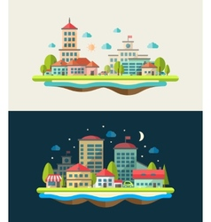 flat design urban landscape compositions vector image