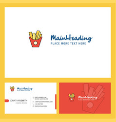 fries logo design with tagline front and back vector image