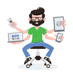 Geek guy with responsive devices vector