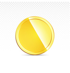 Gold coin isolated on transparent in different vector