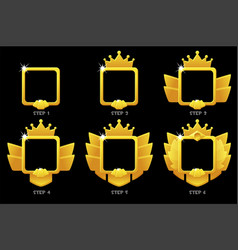 Gold frame game rank square avatar template 6 vector