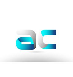 Grey blue alphabet letter ac a c logo 3d design vector