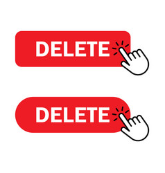 Hand cursor clicks delete button vector