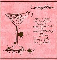 Hand drawn Cosmopolitan cocktail vector image vector image