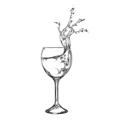 hand drawn sketch wineglass with spray liquid vector image