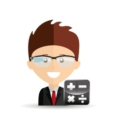 Happy businessman calculator network media icon vector