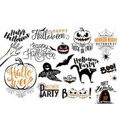 Happy Halloween celebration icon label templates vector