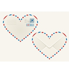 Heart shaped heart airmail envelope vector image