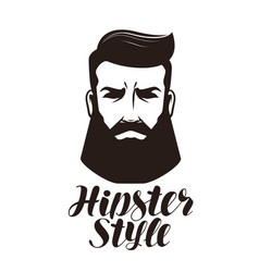 hipster style portrait of bearded man logo or vector image