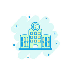 hospital building icon in comic style infirmary vector image