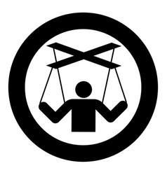 Human manipulation concept puppet stick man vector