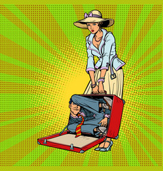 husband in suitcase woman traveler vector image