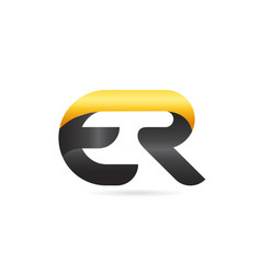 joined or connected er e r yellow black alphabet vector image