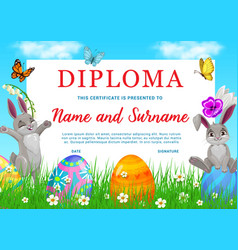 kindergarten kid diploma with easter rabbits eggs vector image