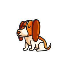 little cartoon beagle dog vector image