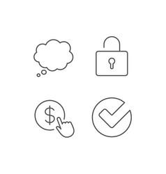 Locker check and comic speech bubble line icons vector