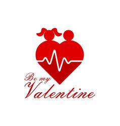 love couple heart logo icon vector image