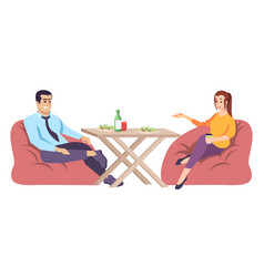 Man and woman at table flat coupe people vector