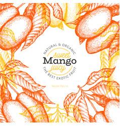 Mango design template hand drawn tropic fruit vector