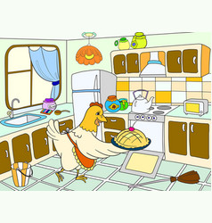 mom chicken in the kitchen prepares food for the vector image