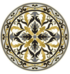 Mosaic classic floral medallion with gold vector