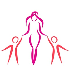 mother and twins walking symbol in simple lines vector image vector image
