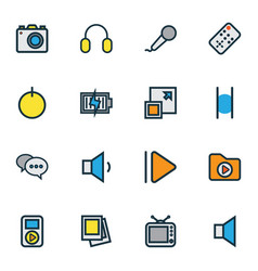 Multimedia icons colored line set with dossier vector