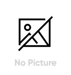 No picture icon editable line vector