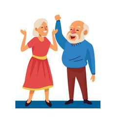 Old happy couple persons avatars characters vector