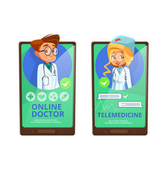 online doctor telemedicine cartoon vector image