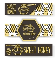 organic honey banners Bio hand drawn set vector image