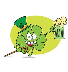 Partying Clover Character In A Green Hat vector image
