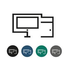 pc desktop outline graphic vector image