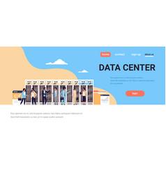 People working data center room hosting server vector