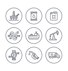Petroleum industry line icons vector