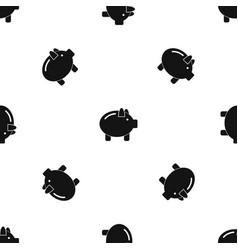 piggy bank pattern seamless black vector image
