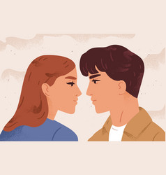 portrait couple looking to each other having vector image
