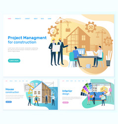 Project management construction interior design vector