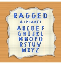 Ragged paper alphabet vector
