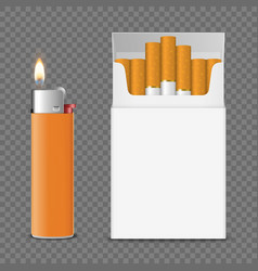 Realistic opened blank cigarette pack box vector