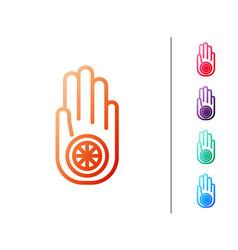 Red line symbol jainism or jain dharma icon vector