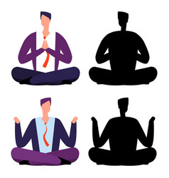 relax meditation cartoon businessmen two men vector image