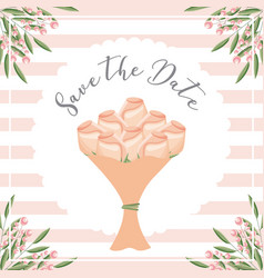 Roses flowers bouquet leaves seeds save the date vector
