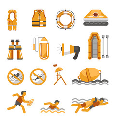 Safety on water flat icons set for vector