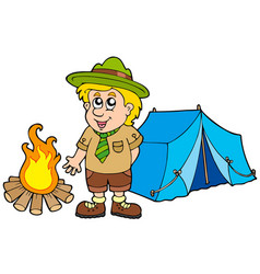 Scout with tent and fire vector