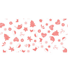 Seamless of pink christmas elements vector
