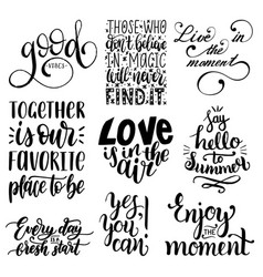 Set of hand lettering with motivational vector
