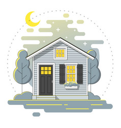 small house and landscape night scene background vector image
